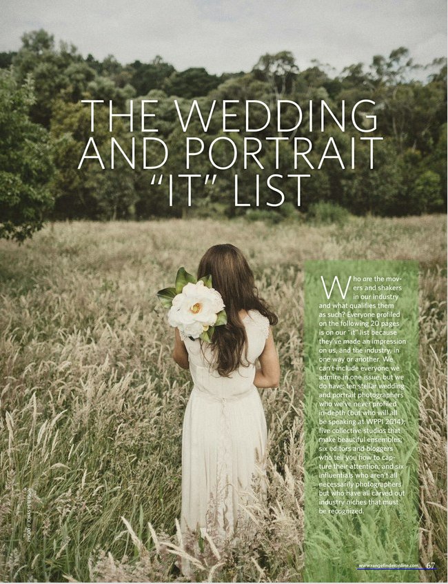 "Rangefinder Magazine - The Wedding and Portrait ""IT"" List"