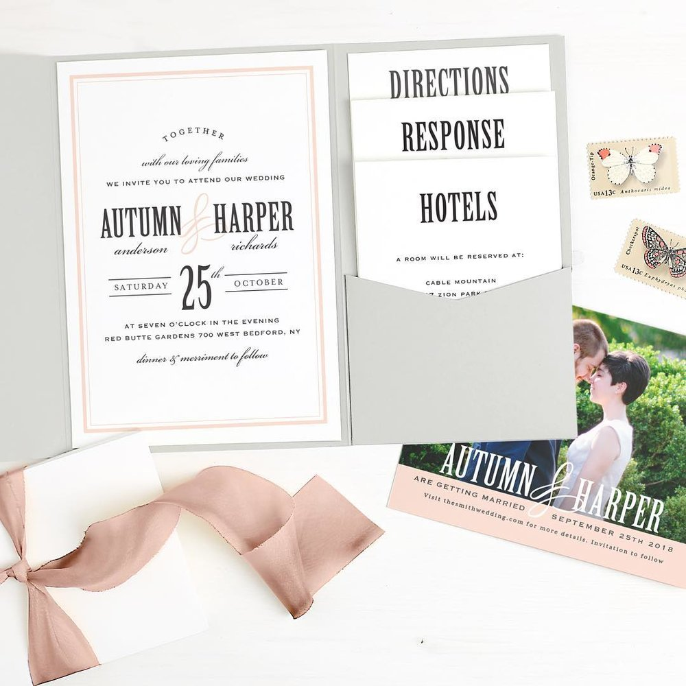 wedding invitations and save the date cards with basic invite
