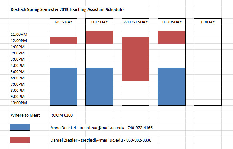 Contact Information and Teaching Assistant Schedule
