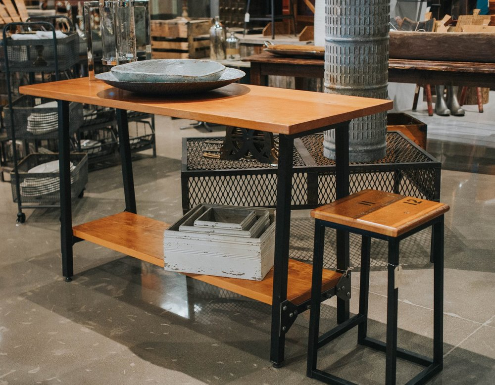 Wood and Rivot Iron Island- seen here with one of our Bleacher Board Stools.jpg
