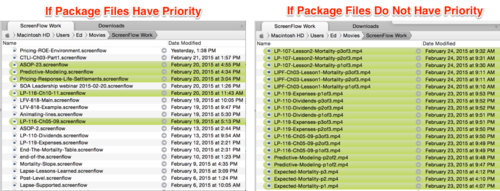 Comparing the same folder in Path Finder—with and without giving priority to package files. Since all of the .mp4 files on the right were created after theScreenFlow projects from which they came, the .mp4 files appropriately appear at the top.