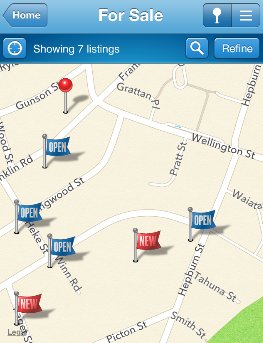 Realestate app with open homes and new listings.png