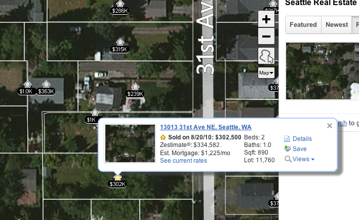 This is just an example of the rich street level data available on Zillow, here is represented a part of a Seattle suburb - click through to see the data on the site
