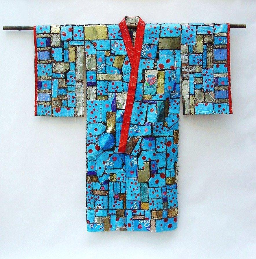 Sky Blue Kimono 138cm H x 123cm W x 8cm D