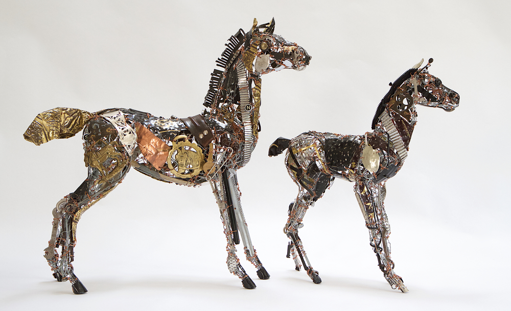 This Horse and Foal made from all manner of recycled and found objects will be amongst many other pieces on show at the Fair, to give an idea of size, the larger Horse is approx. 50cm H x 50cm L