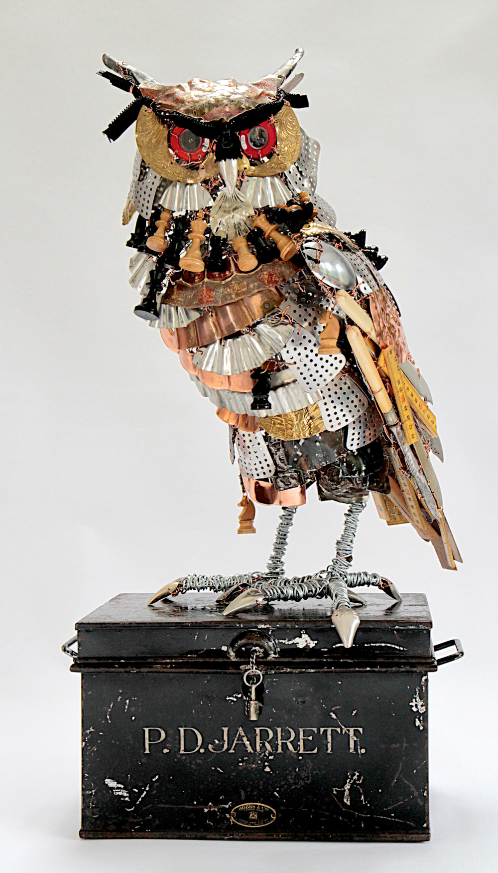 Eagle Owl (Bubo bubo)   a very arresting Owl from various found materials residing on his own Deed box