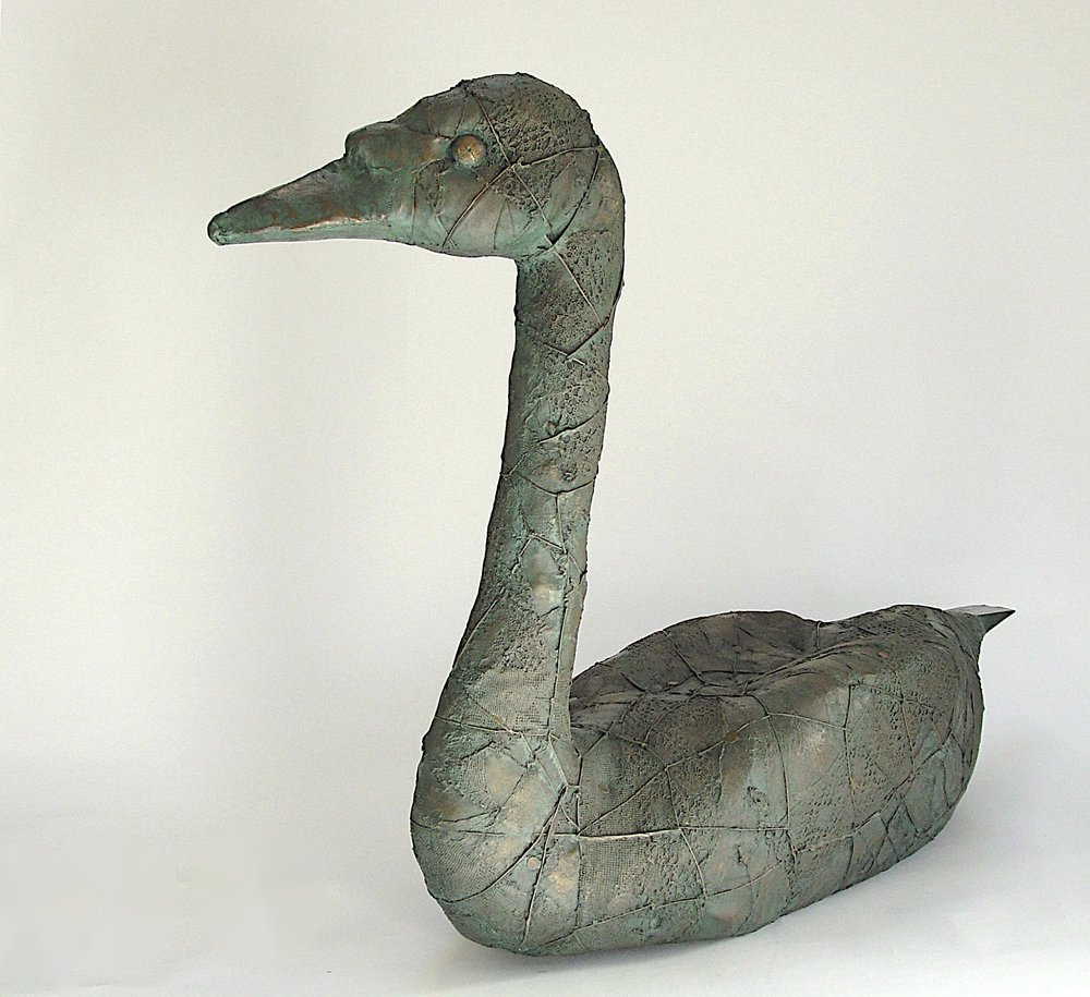 'Cygnus' a life-size Bronze resin Swan to reside in your garden