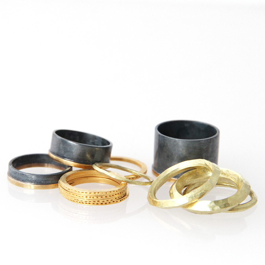 gold Rings: the archaeology collection. black and gold rings: Antumbra