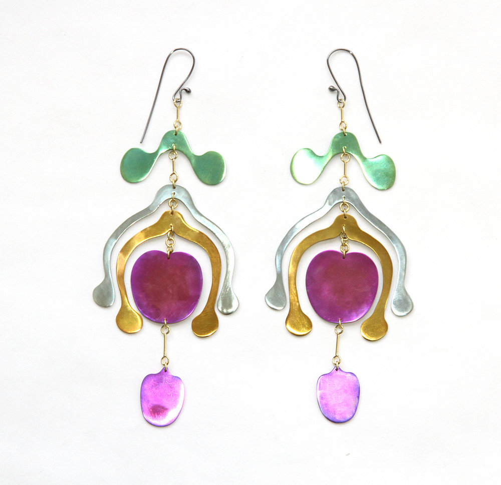 Niobium Androecium mobile earringsearrings