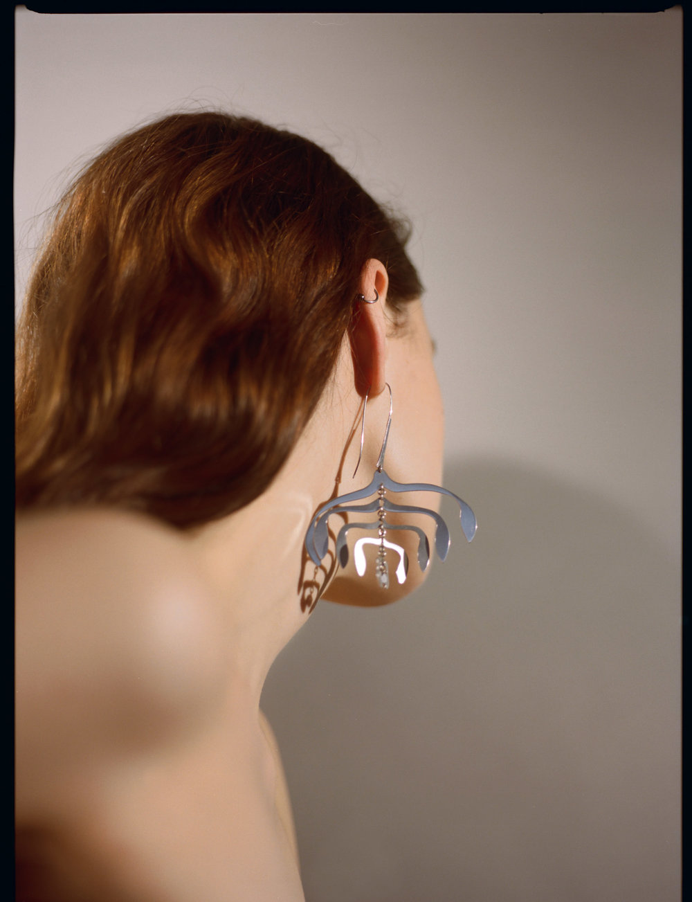 rhodium Umbelliferous mobile earrings