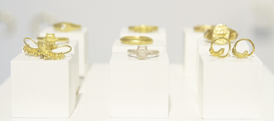 18ct gold pieces with one silver ring from our  'Sands of Time'  collection
