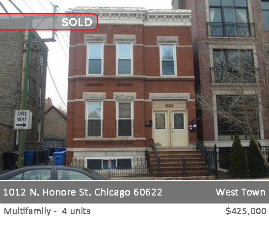 4-unit mulitfamily building in west town. 1012 n honore st. chicago.
