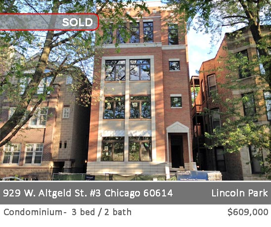 extra-wide 3-bedroom condo in lincoln park. 929 w. altgeld st. chicago.