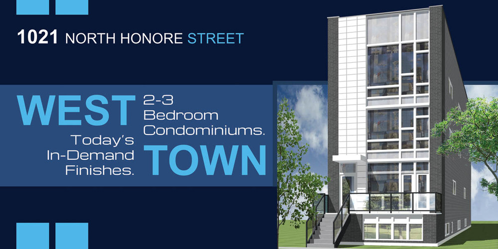 new construction condo building located at 1021 north honore street, chicago