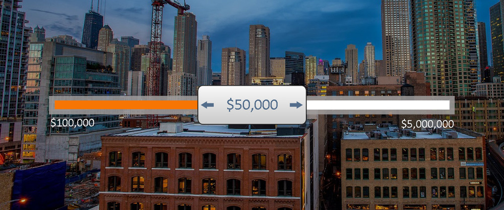 graphic with apartment buildings in the background and a slider showing real estate values.