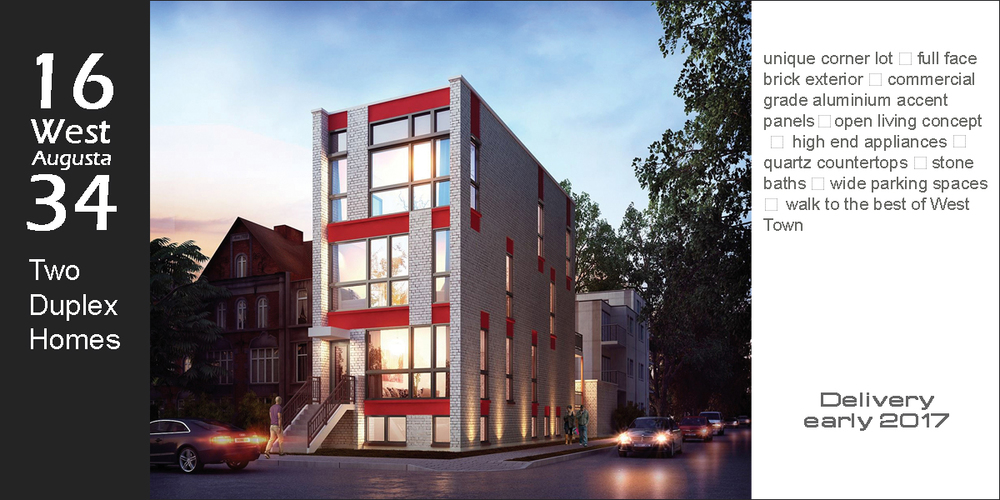 new construction duplex condos in west town located at 1634 west augusta blvd, chicago.