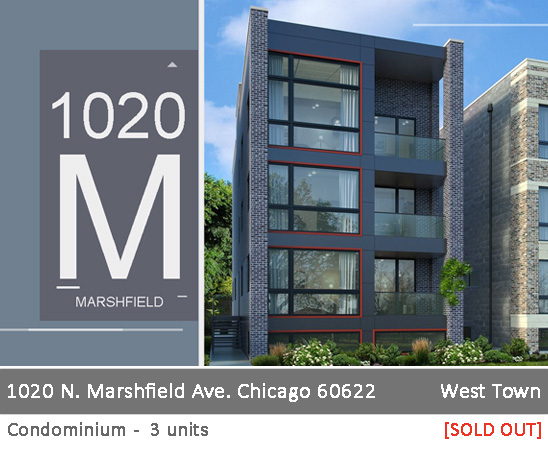 new duplex and simplex condo building in west town. 1110 n marshfield ave. chicago.