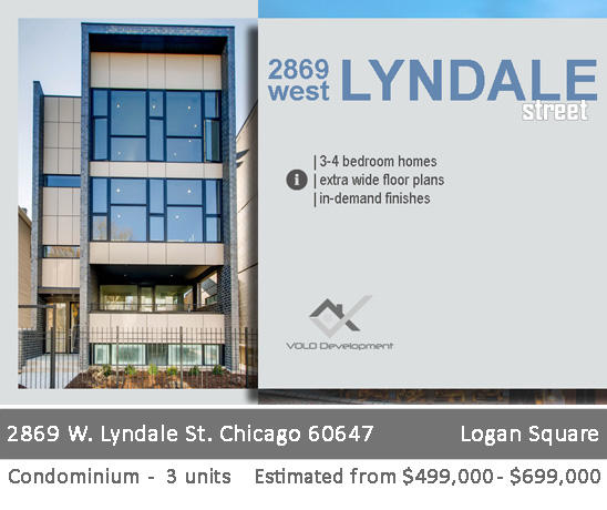 new 3-unit condo building in logan square. 2869 w lyndale st. chicago.