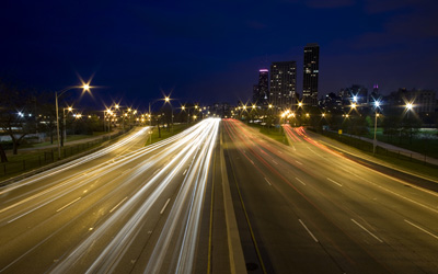 cars on lake shore drive at night