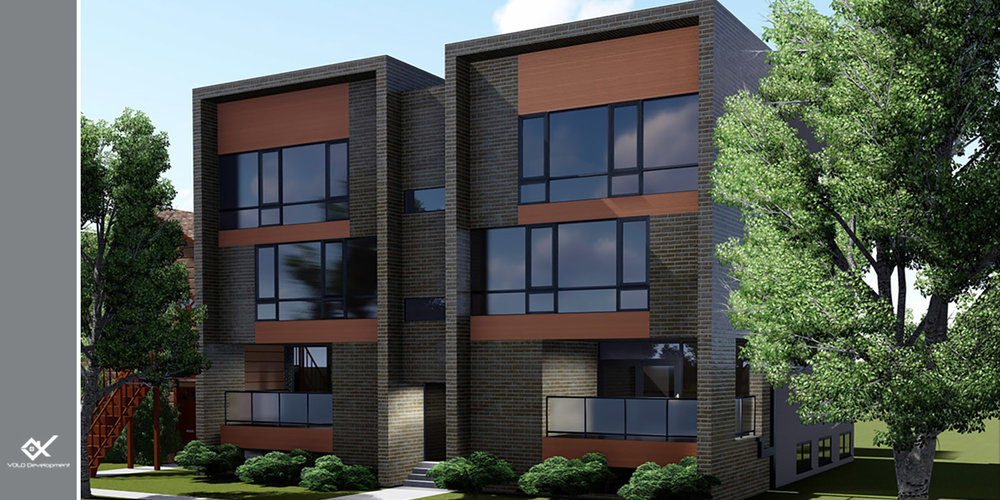 rendering of 6 unit new construction condo building in logan square 3032 w lyndale st. chicago