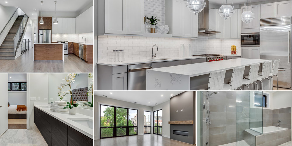 different examples of new construction kitchens and baths at 1012 N paulina st, chicago.