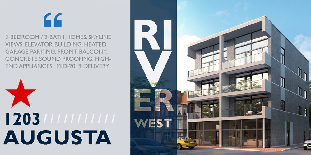 new construction condo building shown in RIVER WEST. 1203 W AUGUSTA, Chicago