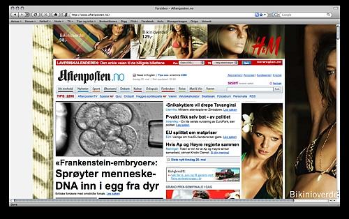 Jeg gir meg ikke, kommer til å klage hver gang det er noe ubrukelig reklame på mine faste nyhetsider (Aftenposten, Dagbladet, Tønsberg Blad). VG har hatt sånne reklamer og etter gjentatte E-Poster til dem så har de fortsatt ikke sluttet med det. Derfor. Men Aftenposten.no - SKJERP DERE!