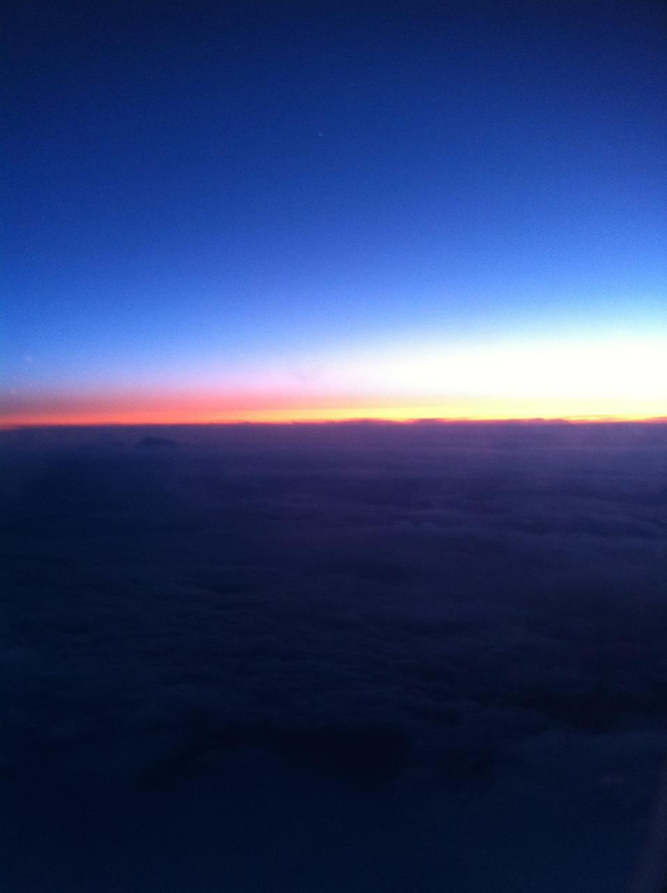 Solnedgang, Icelandair 2012.