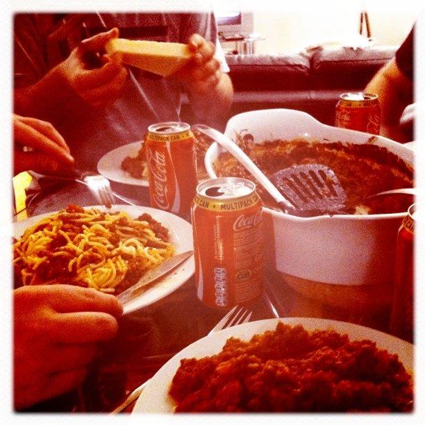 Kveldsmat med Thomas, Fredrik, Nicolai og Kristoffer. Helt ok dessert også; Slå Fredrik i FIFA :-) (Taken with Instagram at Bedford Chambers)