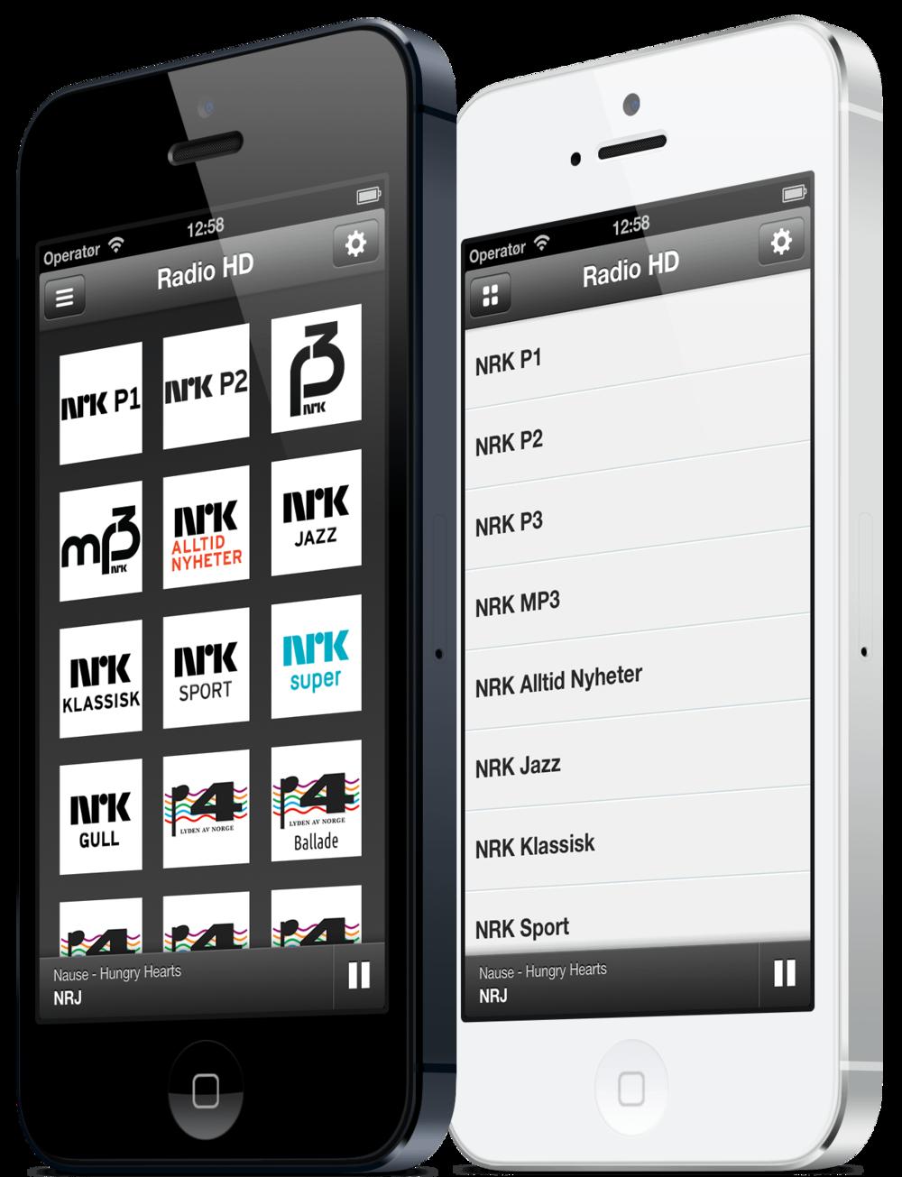 Radio HD til iPhone kan vises både i rutenett og på listeform.