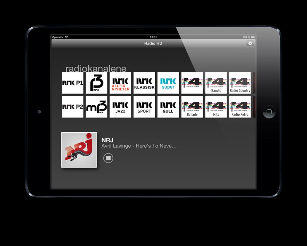 RadioHD på iPad i rutenett.