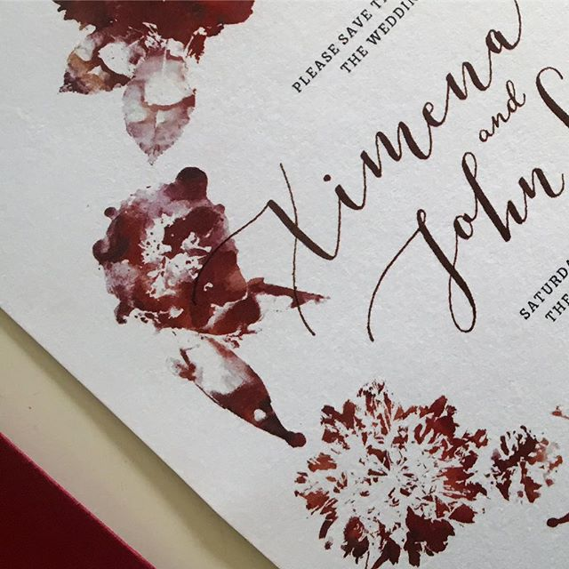 Detail shot of these beauties that @lgpcalligraphy and I worked on for some dear friends. We made the design by pressing real flowers that will be featured in the wedding with ink and paired it with some modern #calligraphy