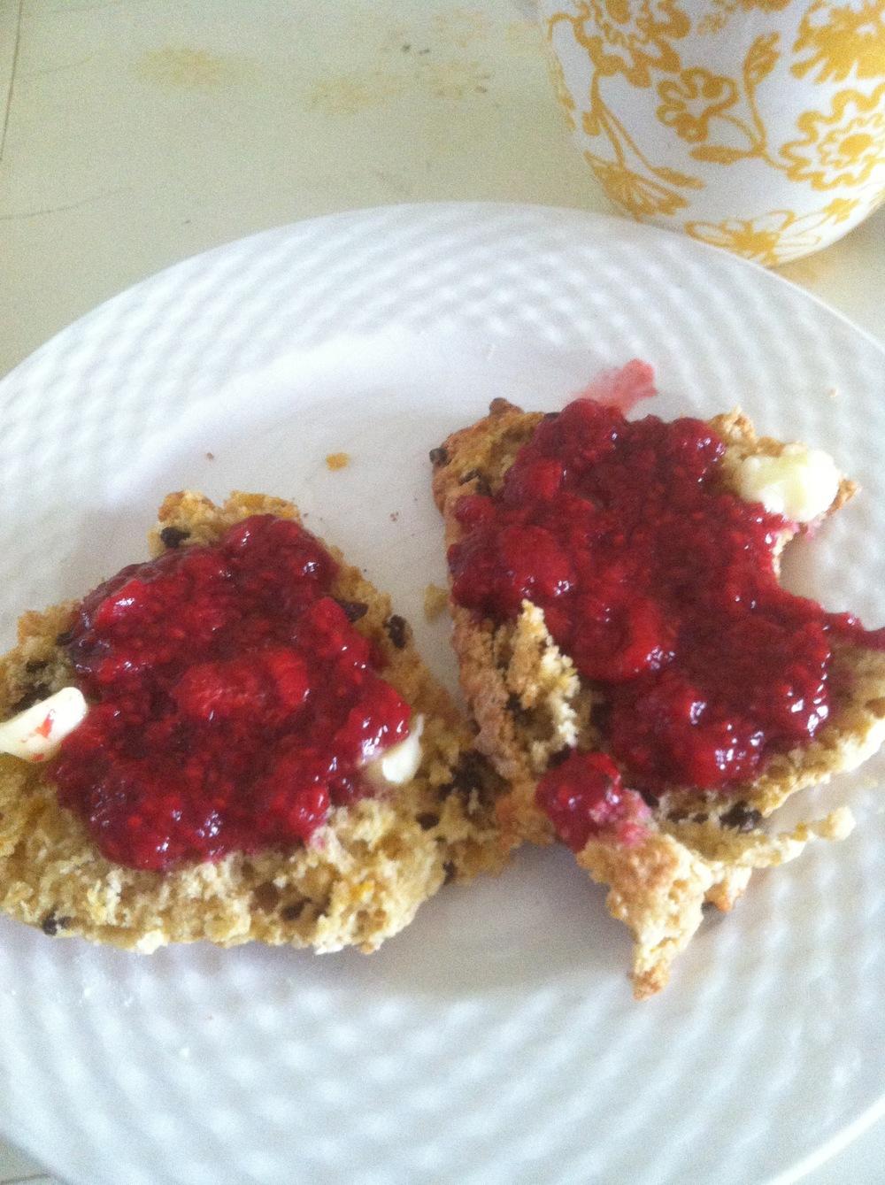 Orange-currant scones with warm raspberry jam