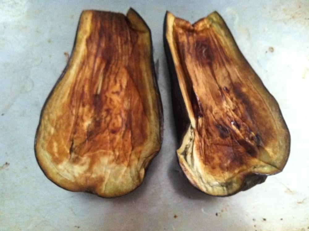 Bab ghanouj begins with roasted eggplants.