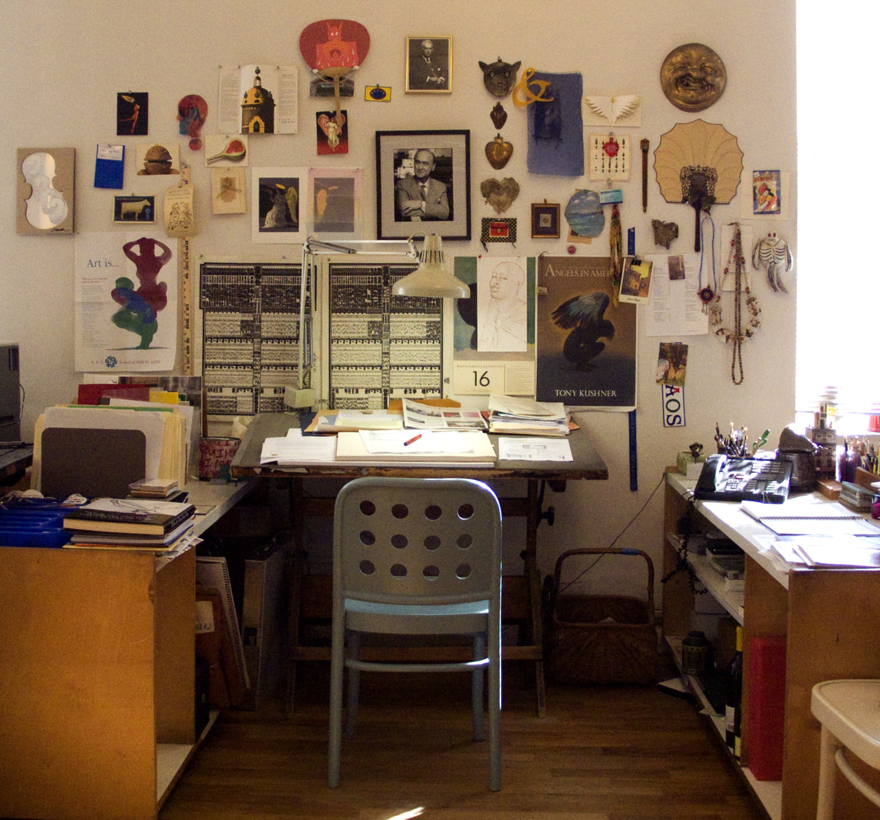 workspaces: Milton Glaser | via from the desk of Are you a creature of habit?  In other words, have you been working the same way at your desk since you started? Yes, profoundly.  I hate change, except in the work itself. I still work at my desk in the same way as I've done for the last 60 years.