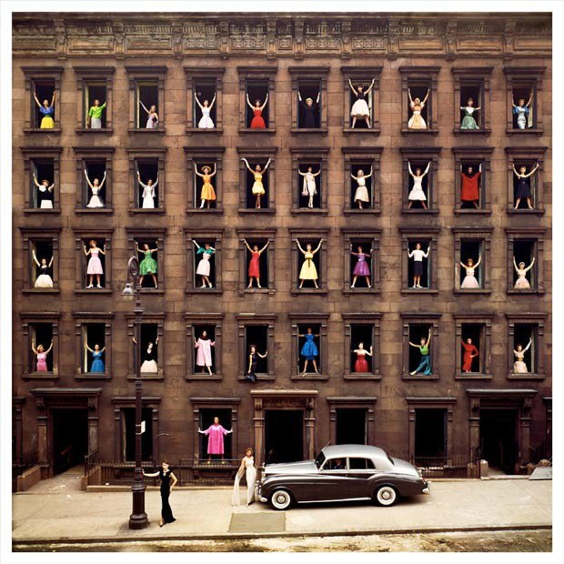 softpyramid :     Ormond Gigli  Girls in the windows  1960   Great article  in the Guardian  about this photograph- the historic brownstone was torn down the day after he shot it!