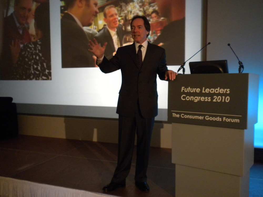 Jerry addresses Delegates during the Consumer Goods Forum event in Berlin, Germany
