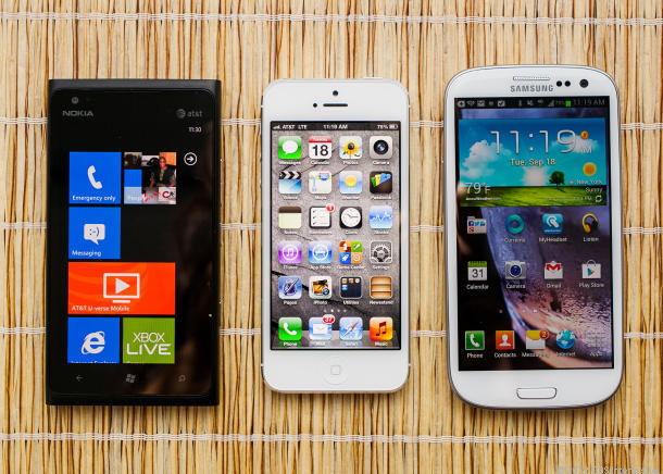 Lumia 900 vs. iPhone 5 vs. Galaxy S3