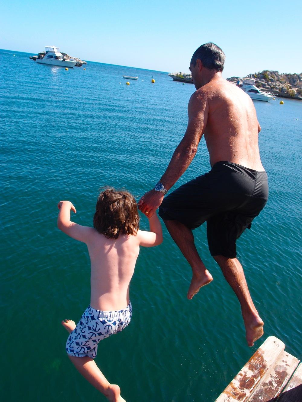 Jumping into Geordie Bay - Rottnest Island, Western Australia
