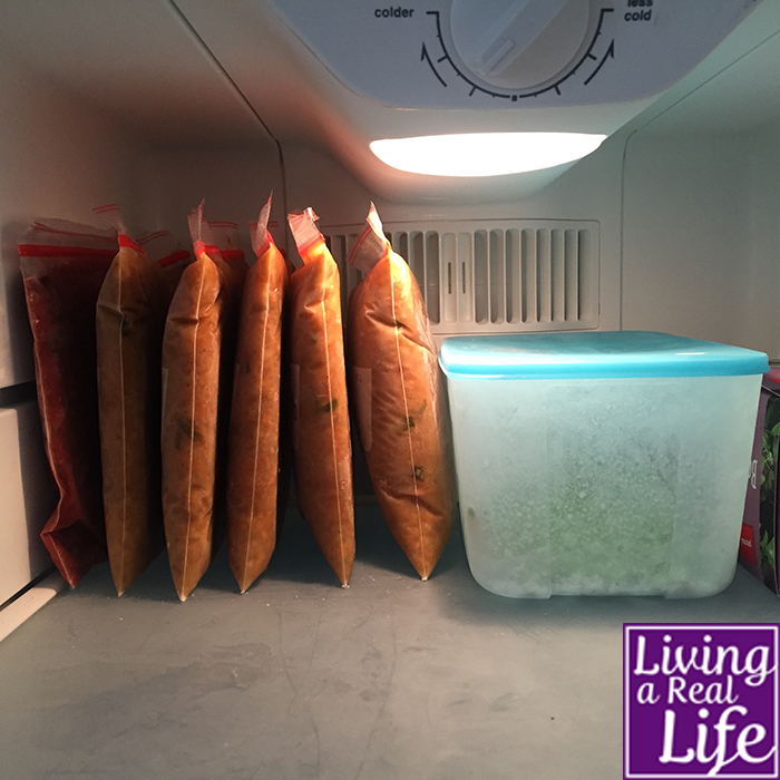 Bags of soup and nachos stacked in my freezer.