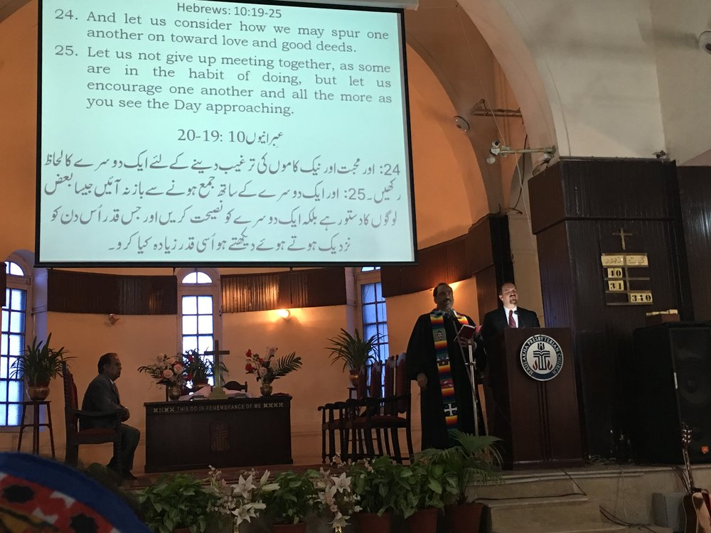 Preaching at Naulakha Church, Lahore