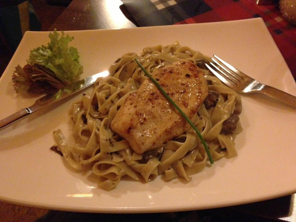 Incredible grilled chicken on pasta with great mushroom sauce. $8.