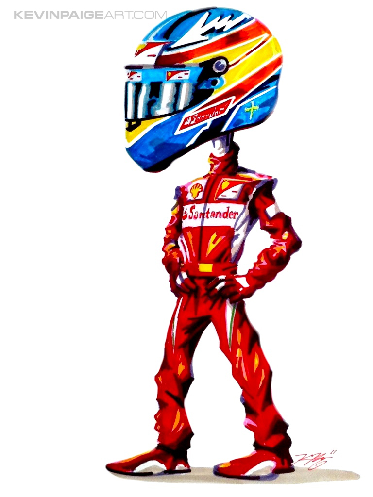 Fernando Alonso Ferrari Cartoon