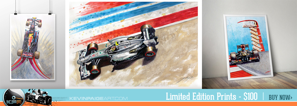 Purchase your limited edition Kevin Paige Art print today. Hurry before they're gone. The perfect gift for your favorite F1 fan.