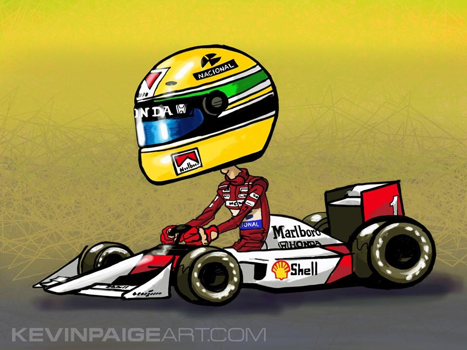 Aryton Senna McLaren Cartoon