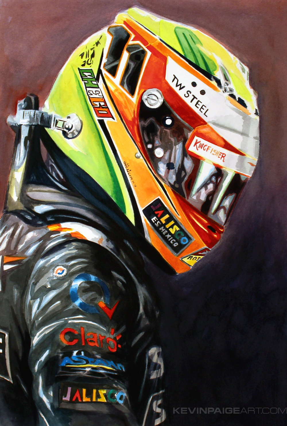 "15""x22"" 2014 Watercolor Sergio Perez - Force India F1 Available for Purchase"