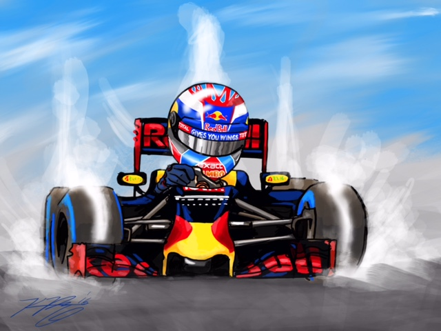 Max Verstappen Red Bull Cartoon