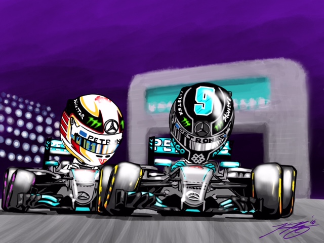 Hamilton vs. Rosberg Cartoon