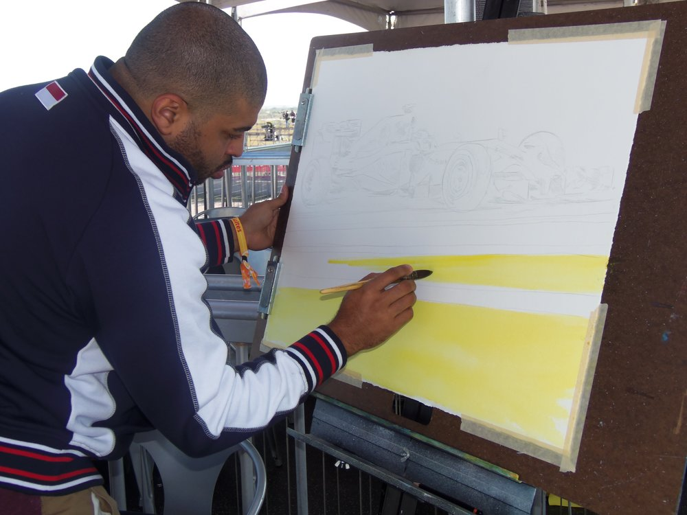 KPA starting a Lewis Hamilton watercolor at the USGP in the Governer's Suite.