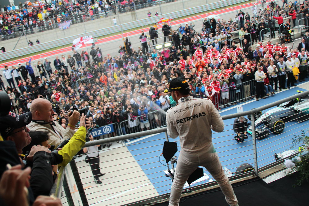 Lewis Hamilton celebrating his win at the United States Grand Prix